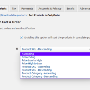 Sort WooCommerce Products in Cart and Order