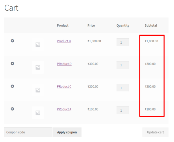 sort woocommerce products in cart and order - price high to low