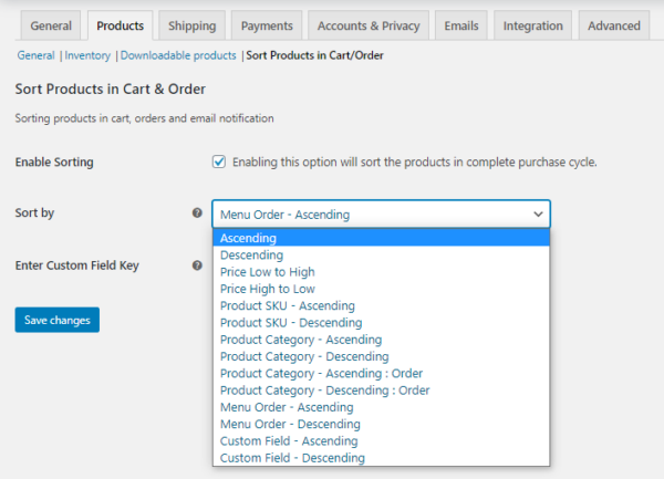Sort WooCommerce Products in Cart and Order Settings